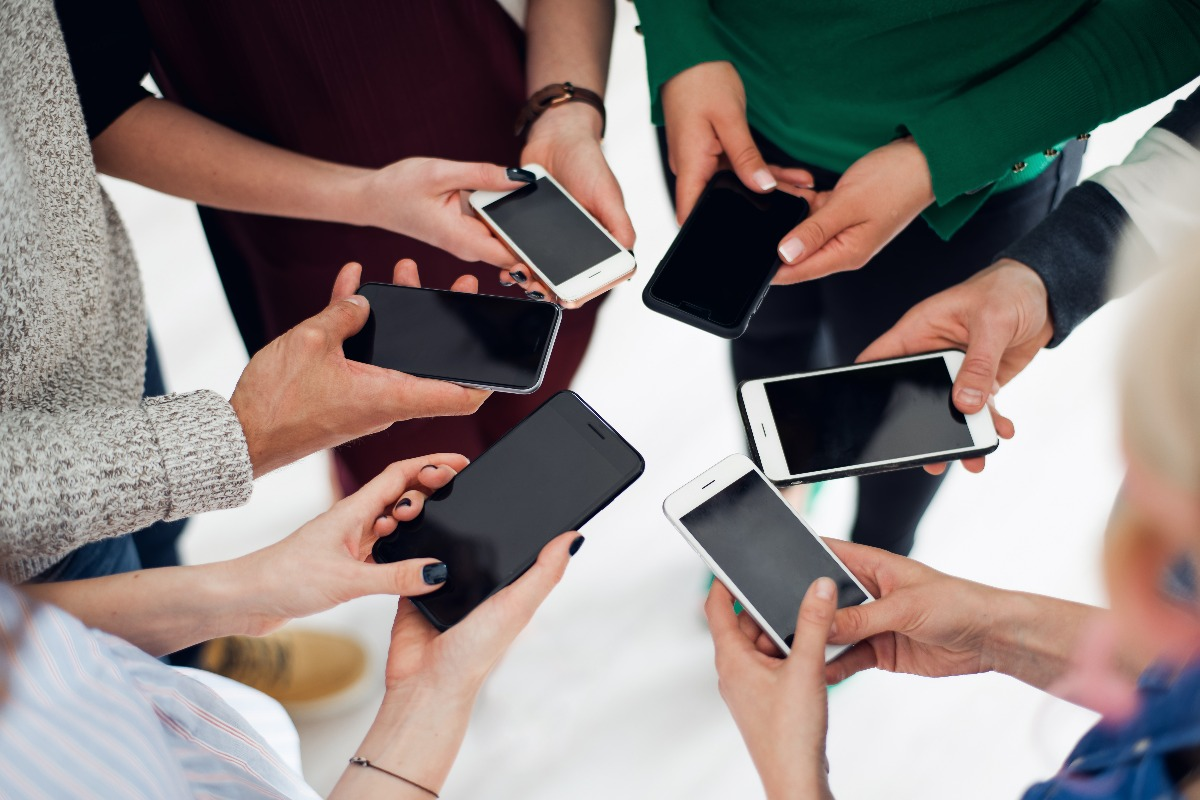group using their smartphones